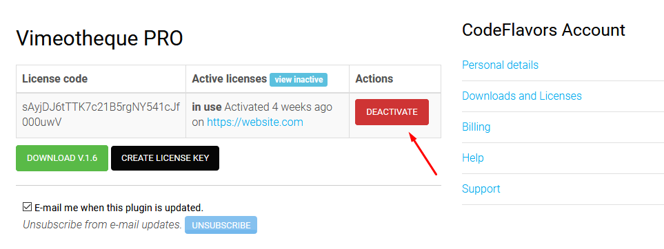 Vimeotheque PRO deactivate license key