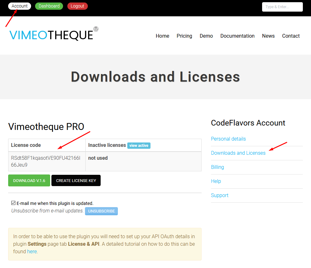 Vimeotheque PRO license keys
