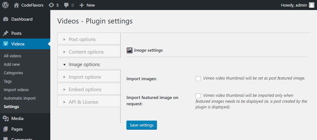 WordPress plugin Vimeo Video Post - image options