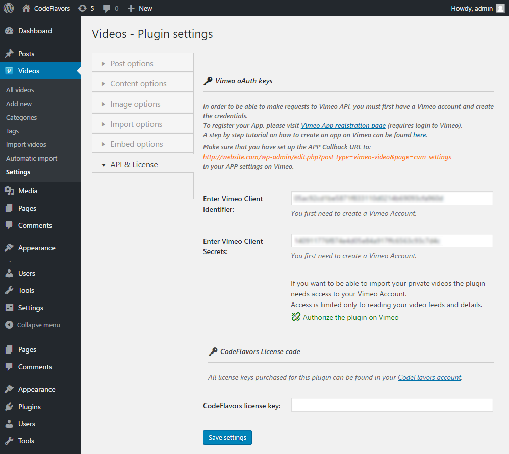 WordPress plugin Vimeo Video Post - license options