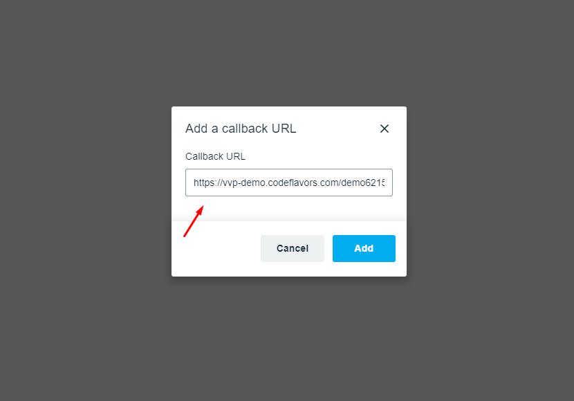 Add callback URL modal