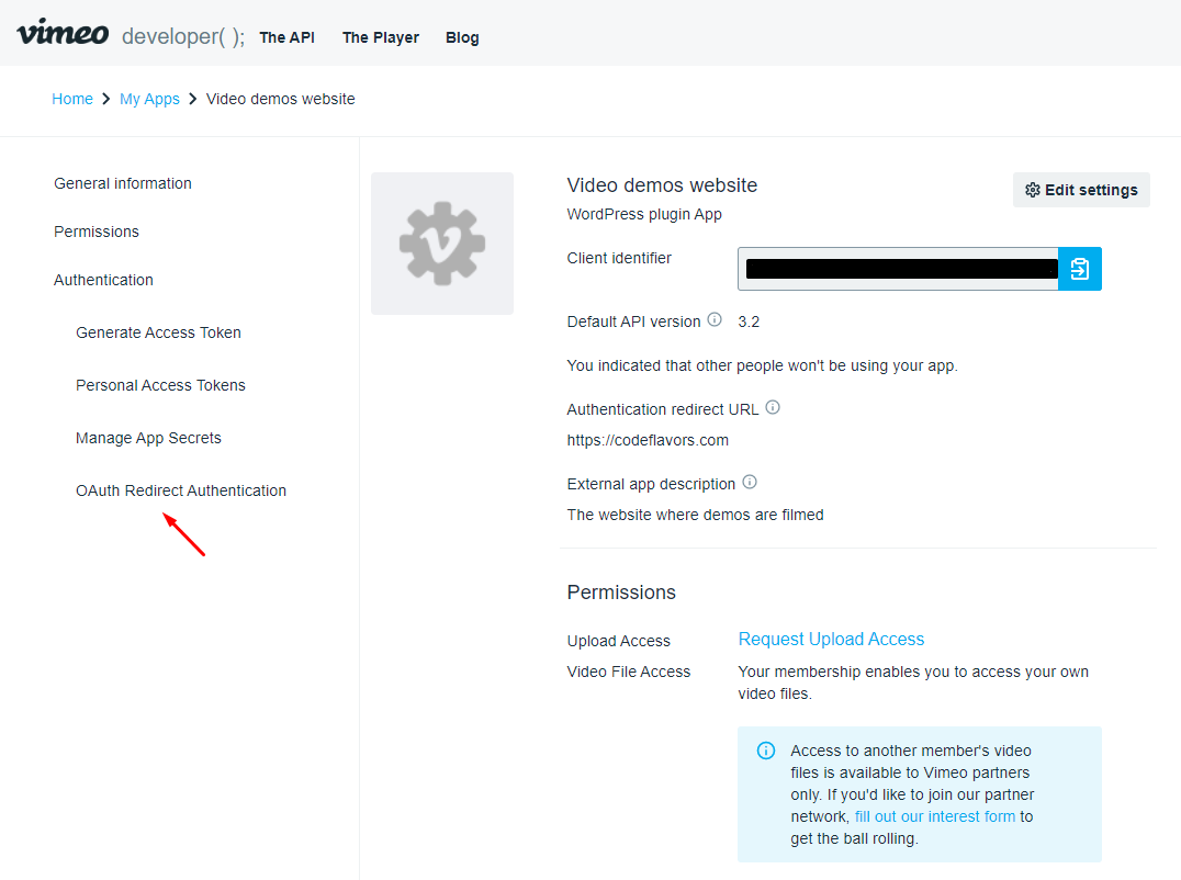 Vimeo app menu Redirect OAuth