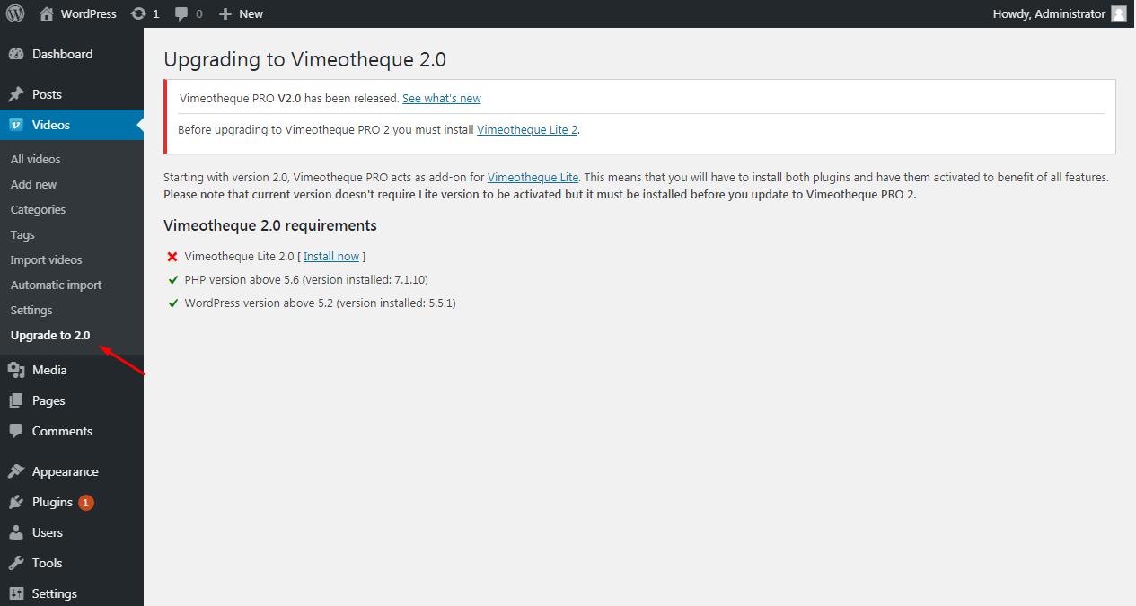 Vimeotheque 1.7 upgrade page