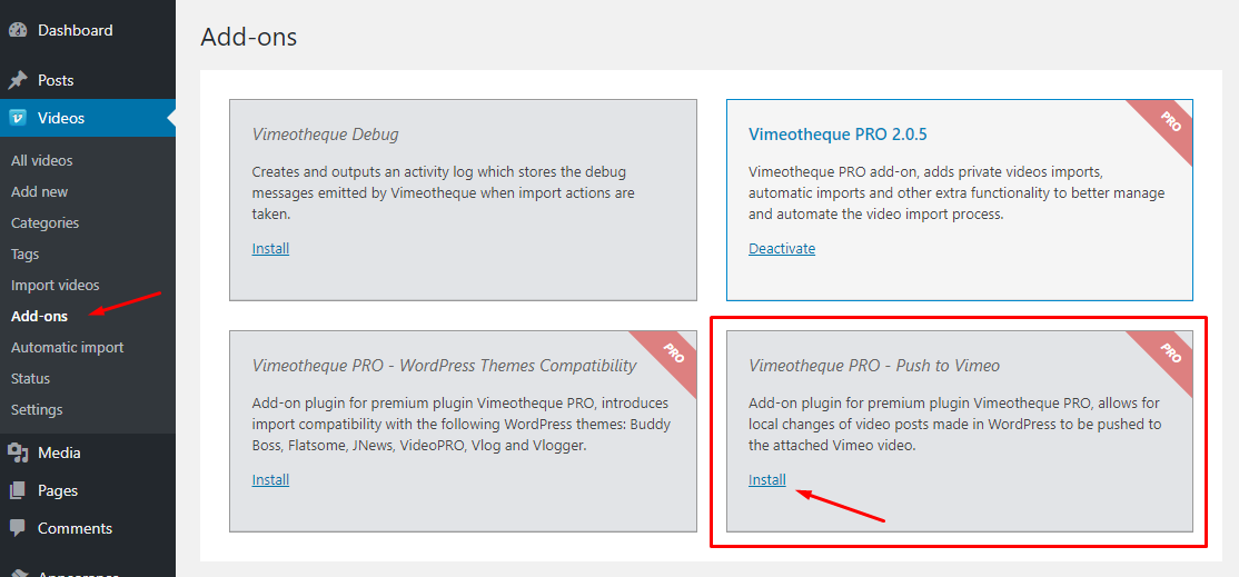 Vimeotheque Pro Push to Vimeo add-on installation