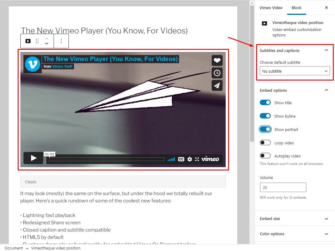 Vimeotheque Subtitles Manager add-on Block editor option