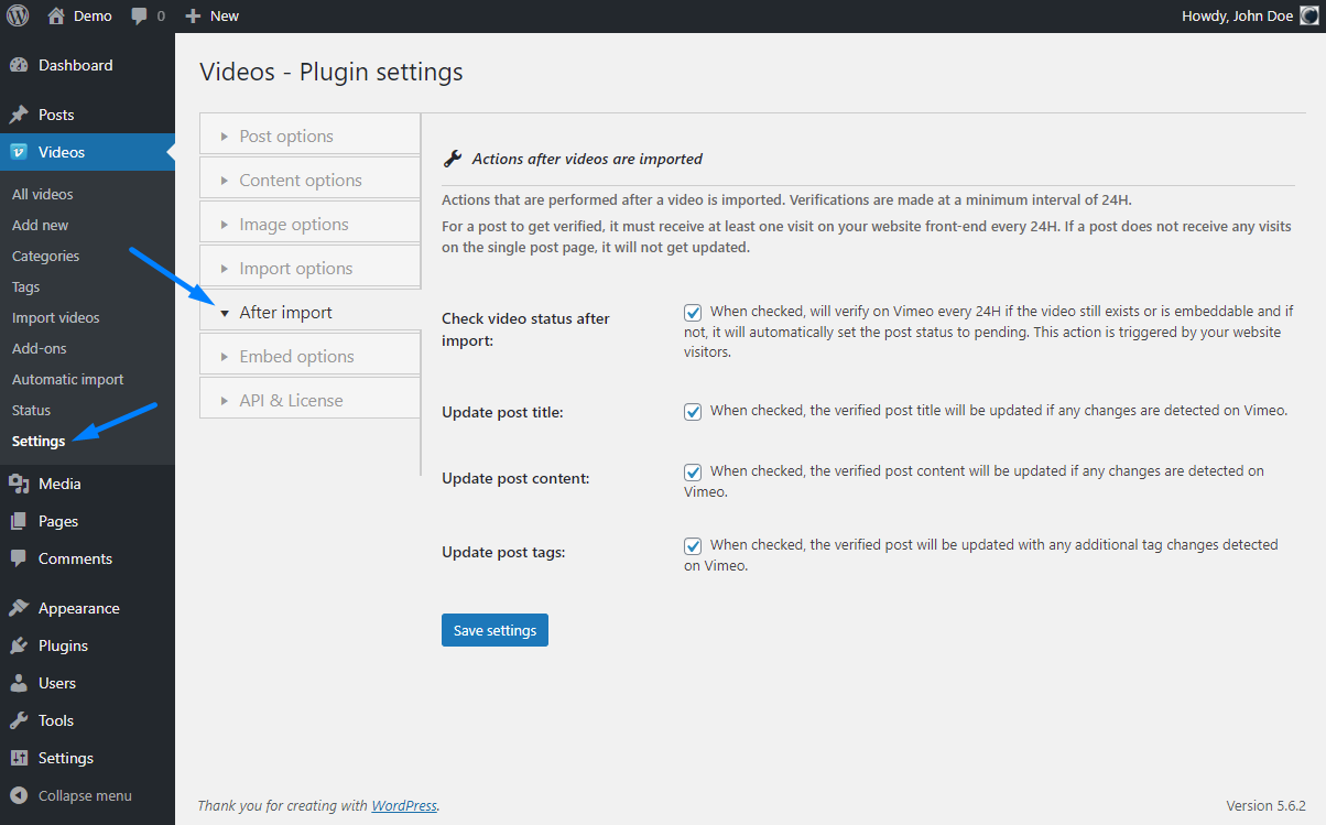 Vimeotheque PRO after post import plugin options