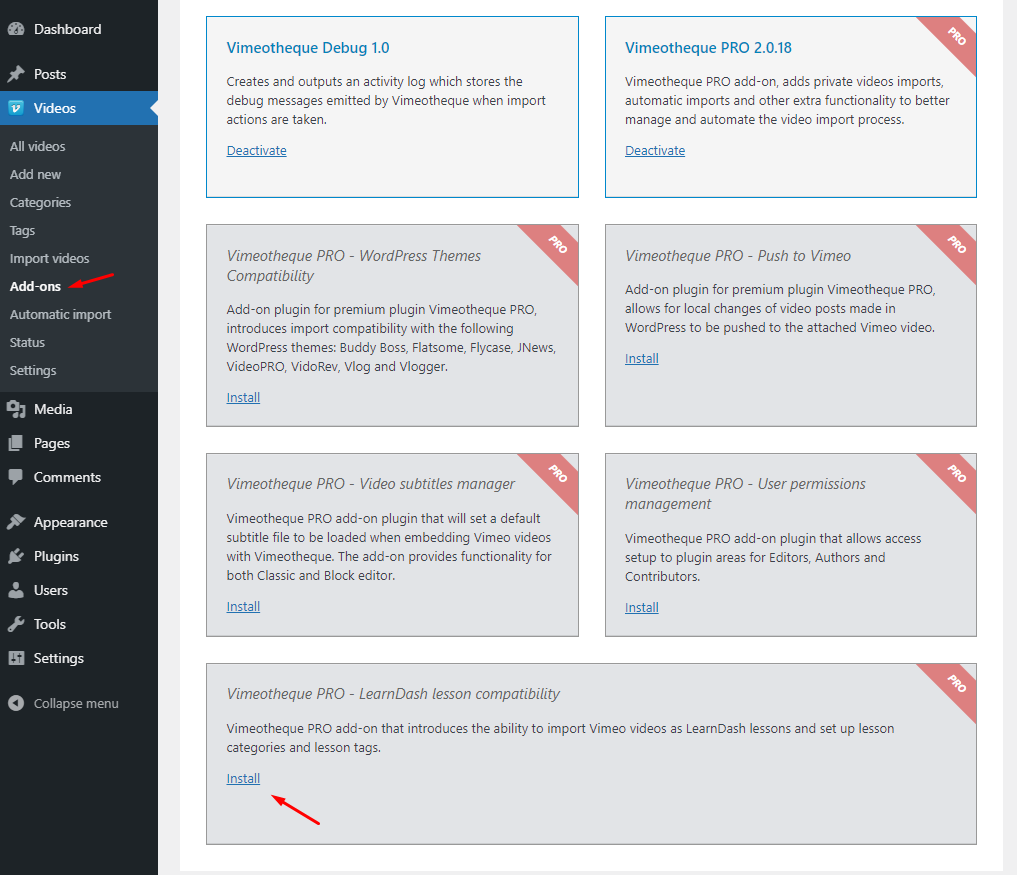 Vimeotheque PRO WordPress admin addons page